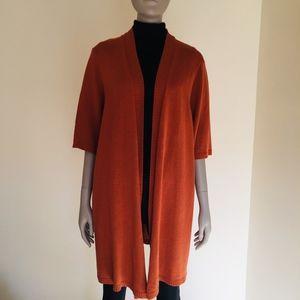 Eileen Fisher duster cardigan short sleeve silk